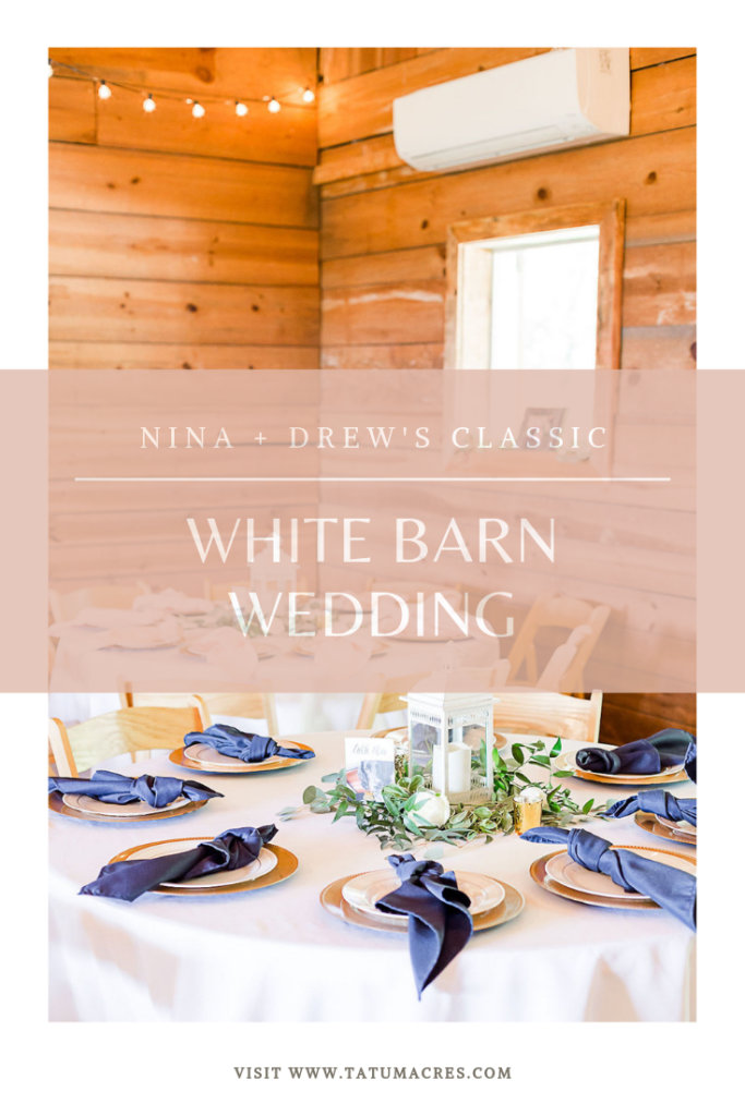 We're sharing Nina & Drew's classic white barn wedding. Plus, tons of information from our bride on her wedding inspiration, favorite components of their wedding design and more! #tatumacres #thebarnattatumacres #whitebarnwedding